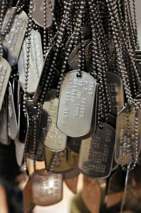 Dog tags signifying each soldier killed in action that has passed through School of Infantry East, are displayed on a memorial in the entrance of Ivy Hall - the headquarters of the school - at Camp Lejeune in North Carolina on Thursday, September 30, 2010. (Sheila Vemmer/staff)